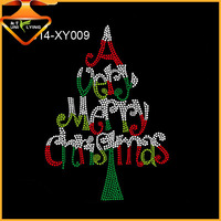 Bling Iron on Christmas Tree Rhinestone Motif Hot Fix Design for Clothing