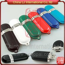 high-class customize colorful embossed Leather USB pen drive promotional gifts