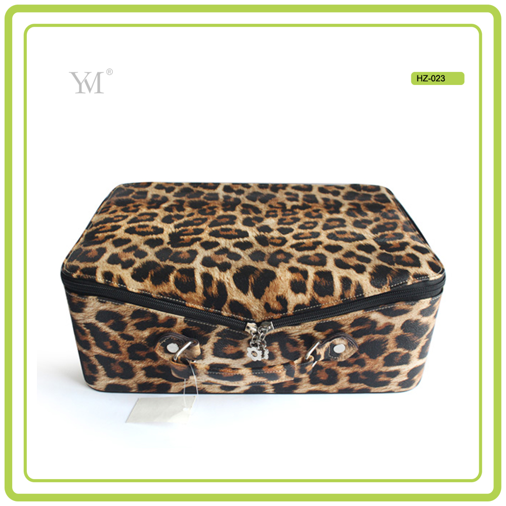 Wild sexy leopard pattern luxury style 2017 new products fashion design pvc leather case jewelry gift box make up case