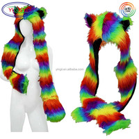 F358 Furry Rainbow Animal Hooded Hat Ears Hand Pockets Scarf Fur Hooded Scarf Animal Hat