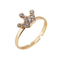 Fashion crown shape crystal jewelry gold plated ring wholesale with cheap price
