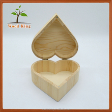 Custom Printing Your Own Logo Packaging Jewelry Decorative Gift Wooden Heart Boxes Wholesale