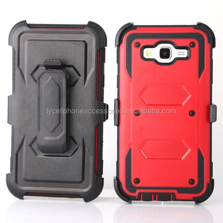 For Samsung J7/J700 Rugged Armor Case Holster KickStand Belt CLip with Built in Screen Protector