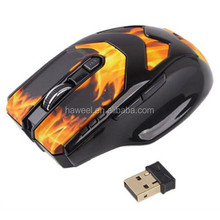 2.4GHz Wireless Flame Pattern 6D Game Mouse with USB Mini Receiver, Plug and Play