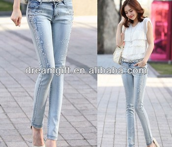 2014 new women's hot drilling Slim thin light-colored denim pants feet pencil pants 017