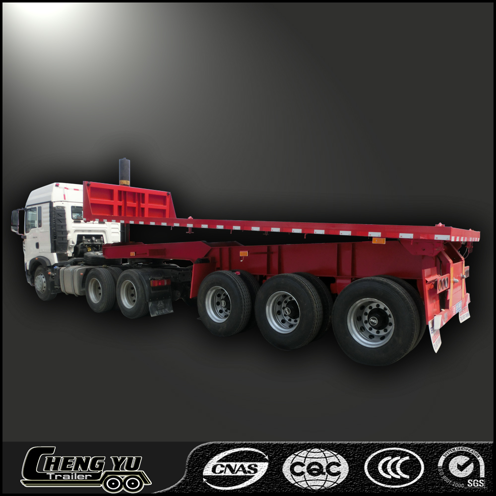 Tri-axle dump flat deck semi trailer with rear tipping function