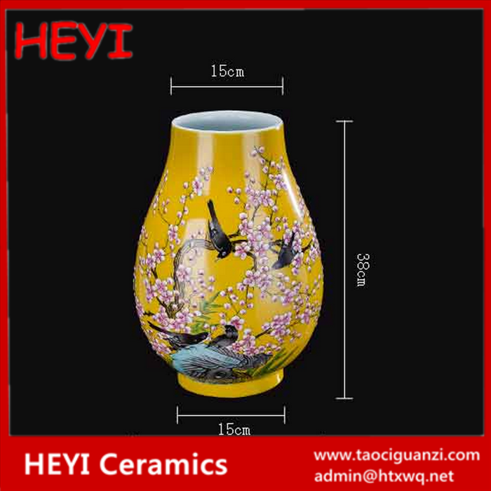 2017 famille rose traditional hand drawing ceramic antique vase