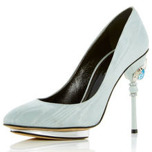 Luxury special fancy crystal heel leather women dress party shoes