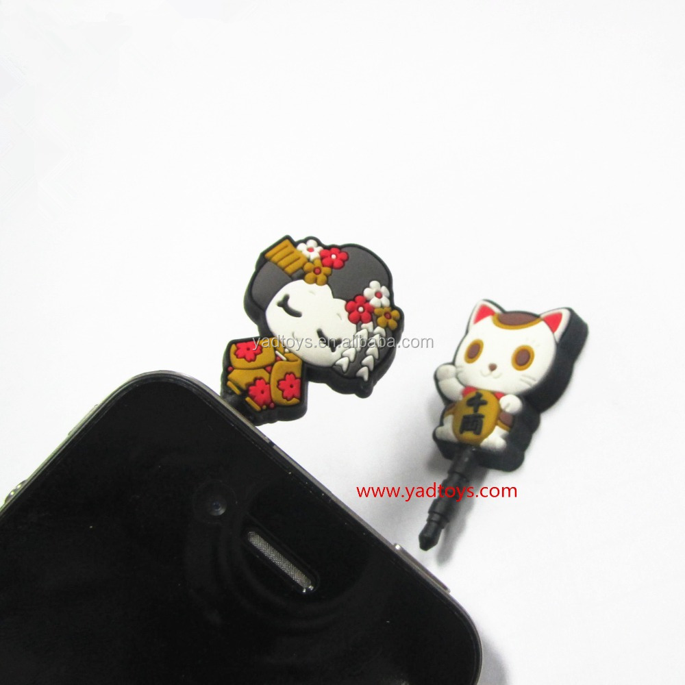 Factory top design cell phone dust plug charm dustproof plug ear cap for phone
