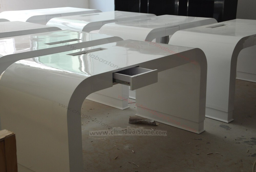 Elegant Design Office Desk With White Acrylic Solid Surface Table Top