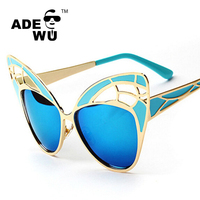 ADE WU brand Butterfly Sunglasses women with Metal hollow Colorful for party fashionable cat 3 uv400 sun glasses