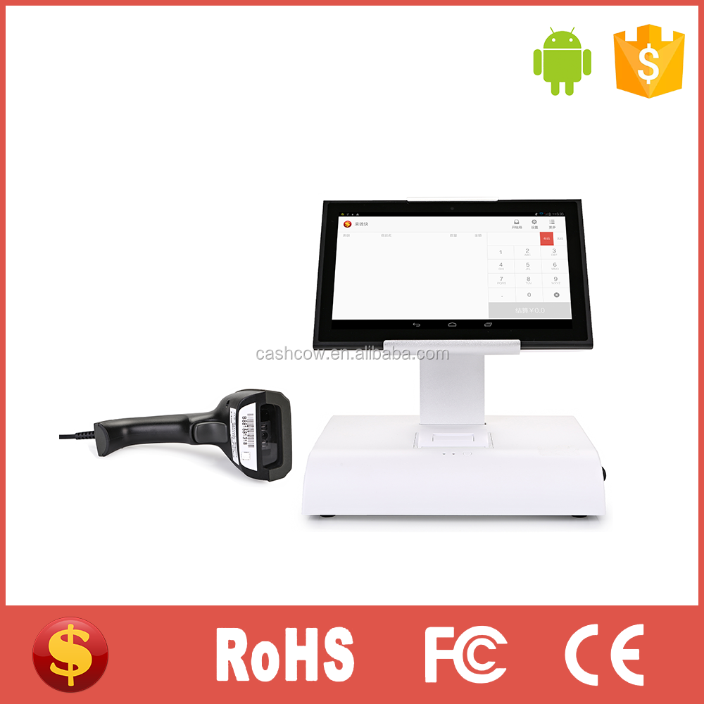 Android touch screen POS terminal with WiFi, printer and barcode scanner for retail