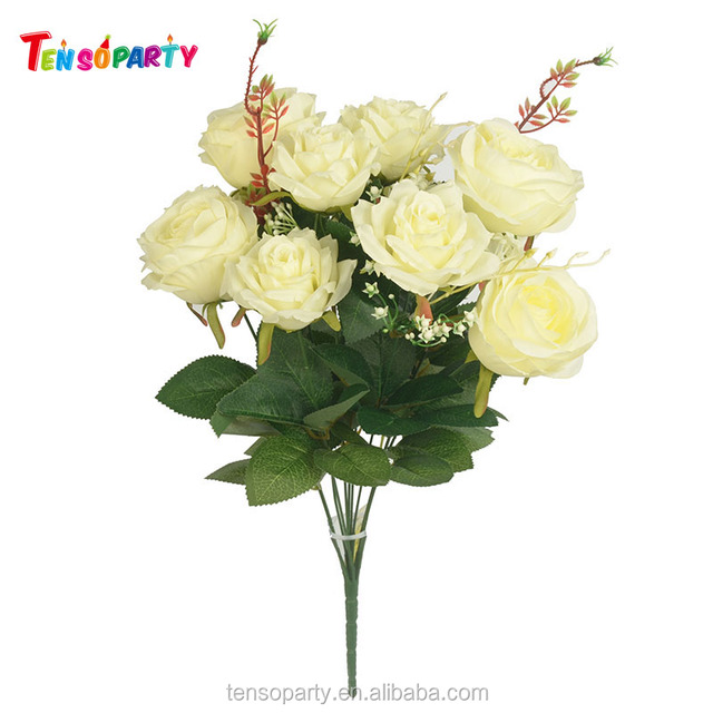 Fashion cheap wholesale artificial flowers 10 heads 48cm rose silk flower wall for wedding supplies