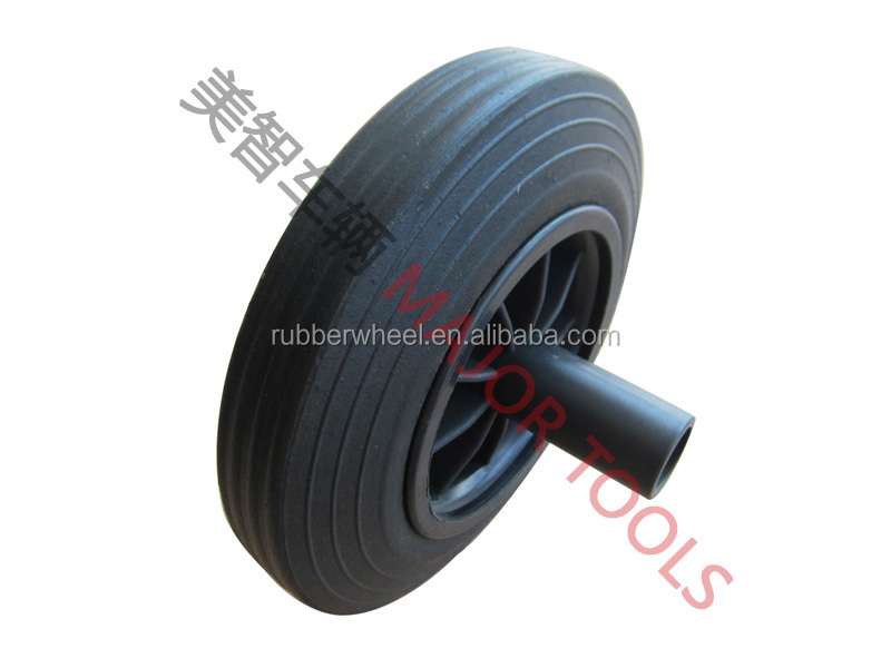 dustbin solid rubber wheel 8 inch 8X2 with flat free tire