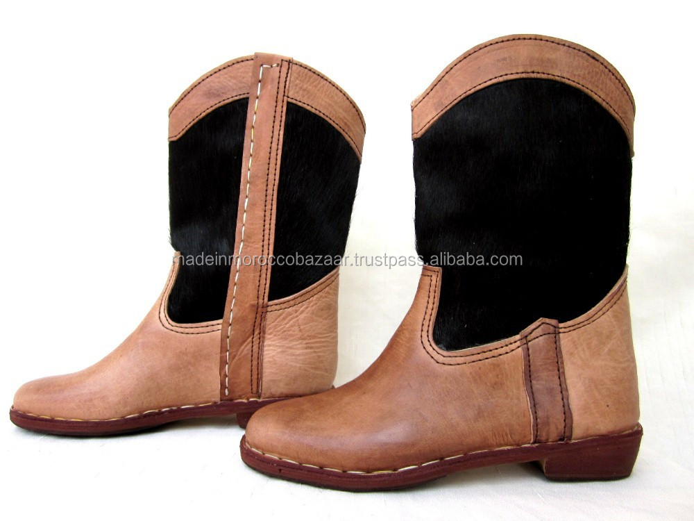Elegant Handcrafted Genuine Leather Fur Boots