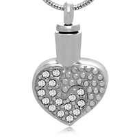 Family Rember And Pet Always In My Heart Stainless Steel Love Shape Memorial Cremation Keepsake Urn Pendant With Sparkly Crystal