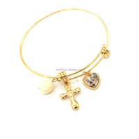 New Fashion Customized Engraved Corss Charms Stainless Steel Gold Tone Expandable Wire Bangle Bracelet Always IN MY HEART