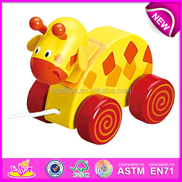 2016 Lovely wooden pull toys for <strong>kids</strong>, best sale baby wooden pull toys W05B040