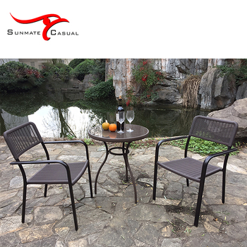 Hot Selling Cheap Plastic Chair Garden Furniture Rattan Wicker Round Outdoor Coffee Table Set