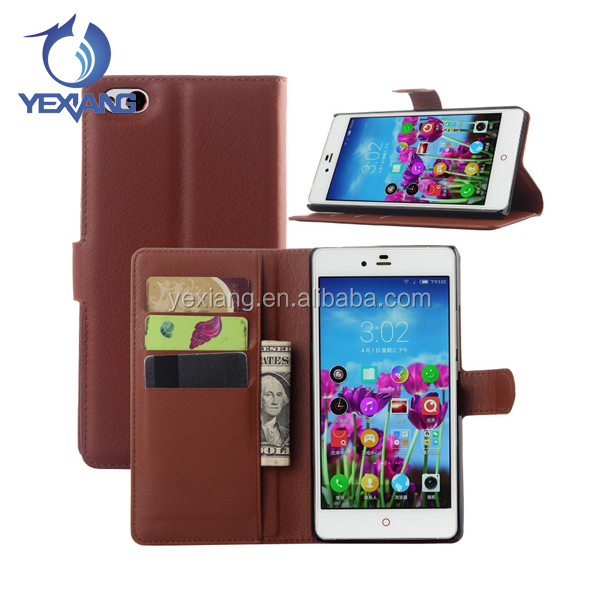 Mobile Accessories Leather Cell Phone Back Cover Case for ZTE Nubia Z9 Max with Stand Function