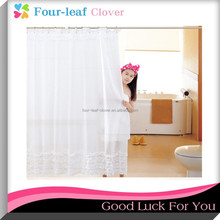 Thickened Waterproof Mildew Solid Polyester Fiber Bathroom Ruffled White Lace Shower Curtain