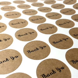 Round Shape Die Cut Thank You Kraft Paper Label Sticker