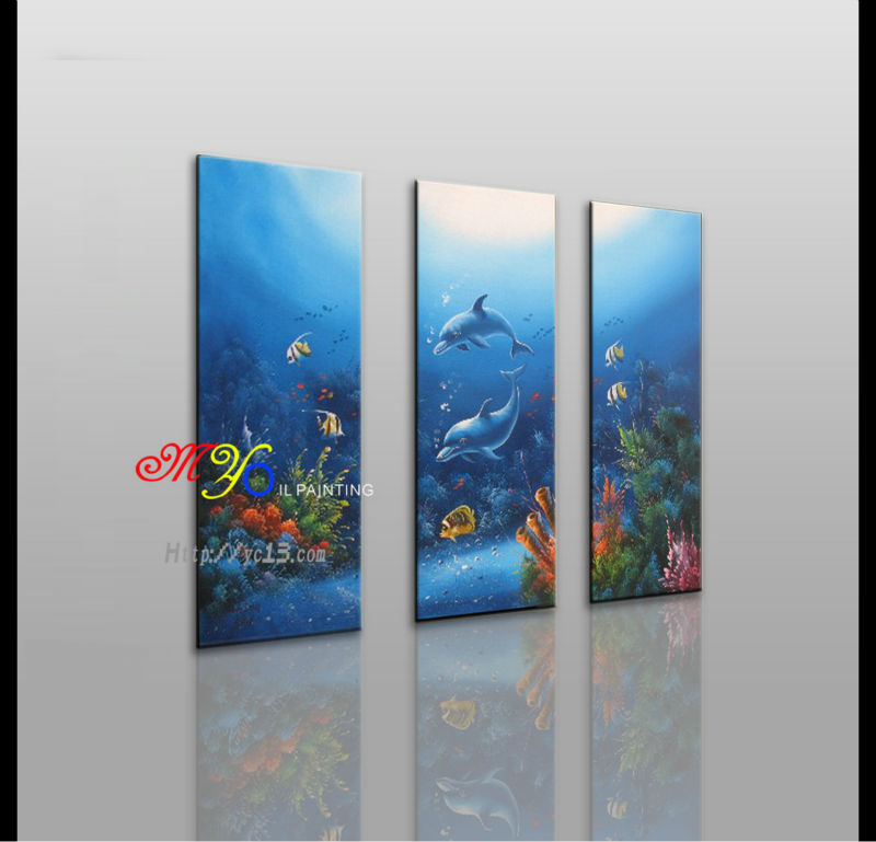Handmade Home Decor Undersea Scene Group 3 Panel Oil