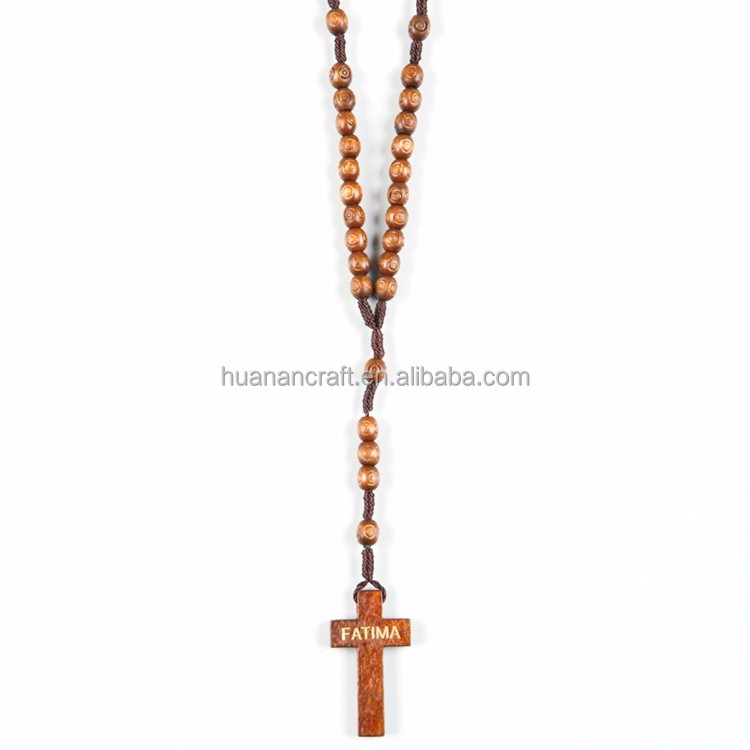 Huanan adjustable catholic saint religious wooden rosary made in china