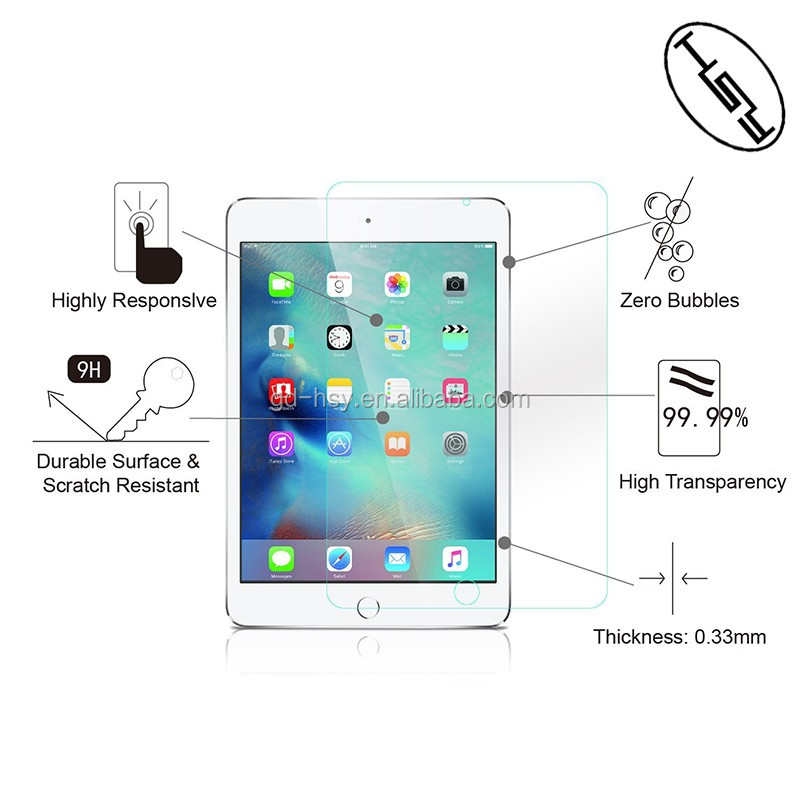 HUYSHE for ipad mini4 2.5d clear tempered glass screen protector for ipad mini 4 mobile phone scratch proof guard