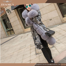 Winter super warm thick fox fur coat , long dyed women fox fur jacket