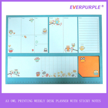 A3 owl design weekly planner,weekly planner notepad