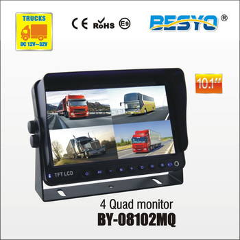 Vehicle reversing 4 quad reversing monitor BY-08102MQ