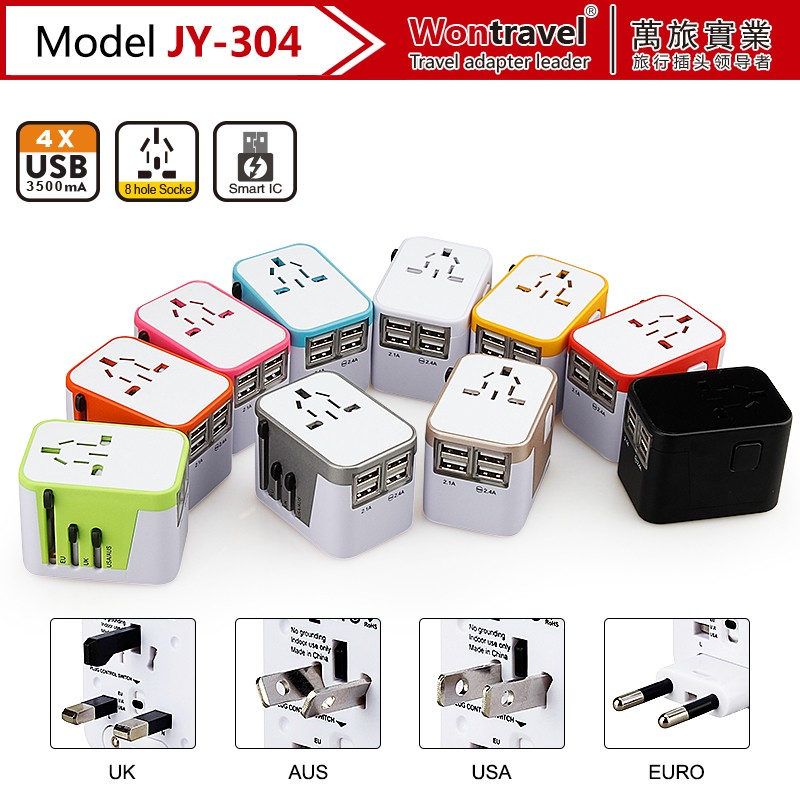JY-304 promotional gift 4 usb multi phone charger electrical adapter plug