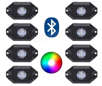 8 Pod Cell Phone Control RGB Rock Lights LED Side Marker Lamo For Offroad Truck Boat Vehicle Used