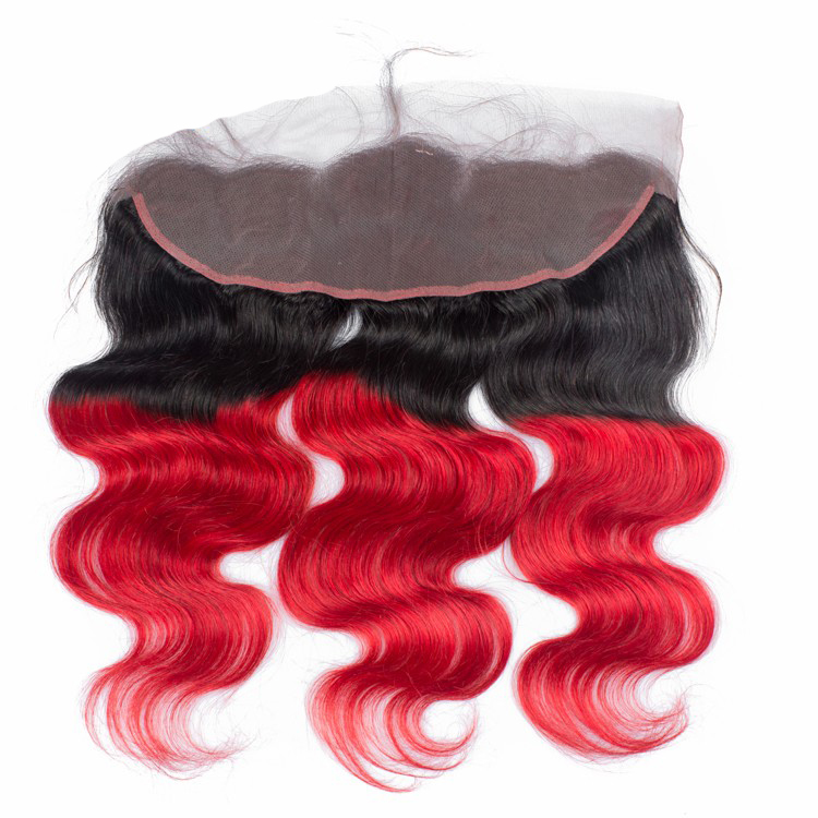Ombre 1B/Red Two Tone Color Body Wave Swiss Lace Fabric Frontal 8~30 Inch Virgin Brazilian Hair Lace Frontal With 360 Lace Band