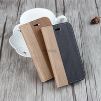 Shen zhen Hot Selling Wood Grain Design Flip PU Leather Cover Smart Cell Phone Case for iphone 6s 6 plus