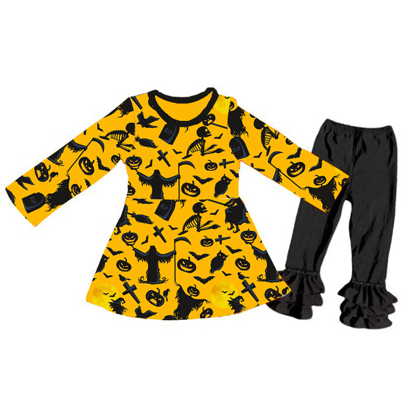 Cheap wholesale clothing sets baby girls Halloween fall boutique outfits