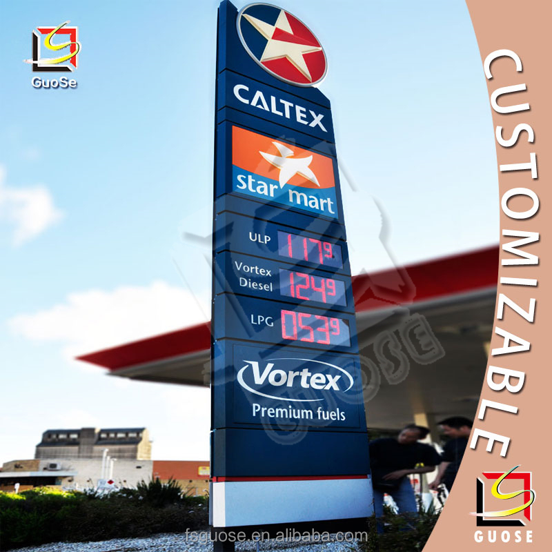 outdoor Advertising Caltex petrol pylon signs with led gas station price signage boards