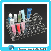 high quality acrylic transparent display rack lip balm display, cosmetics stand displayer in shenzhen