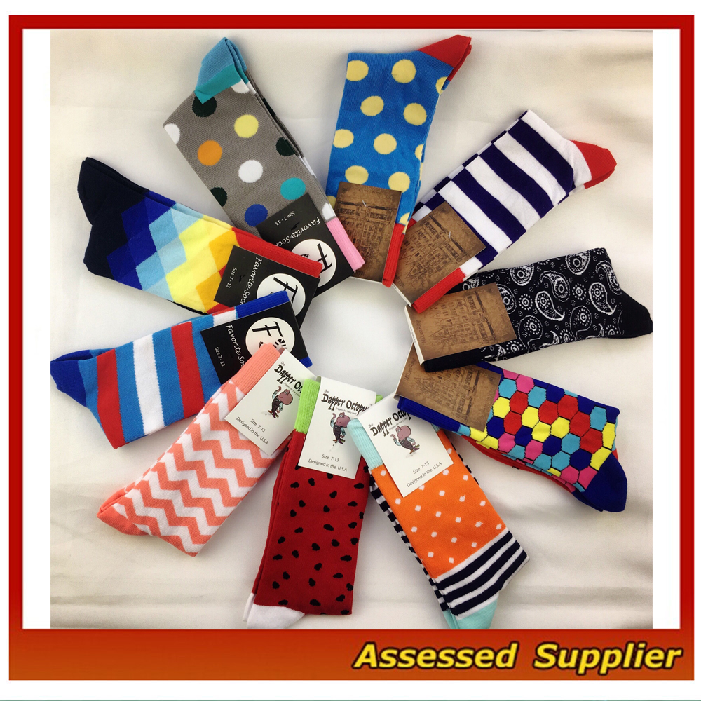 Best Quality Men Colorful Happy Combed Cotton Dress Socks, High End Colorful Dress Socks--ZP222