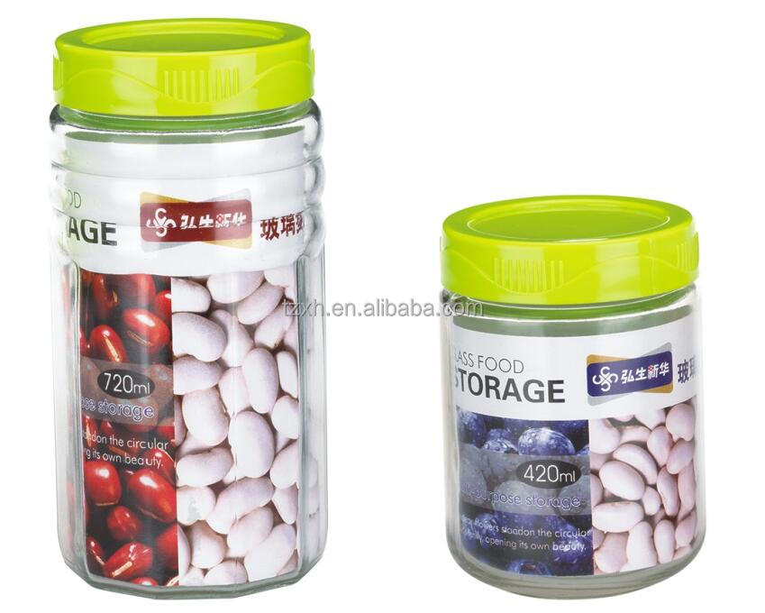 Screen Printing Surface food container Screw Cap Sealing Type glass jars