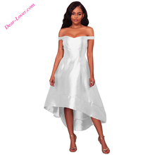 2018 Lady new fashion White High-shine High-low Party luxury dress evening