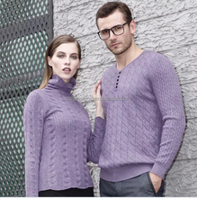 Momantic purple color cable knitted fashion couple sweater