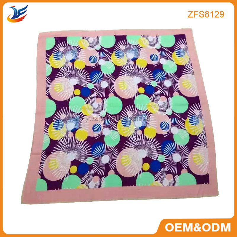 Custom Digital Printed Chiffon Square scarf silk scarf in YIWU