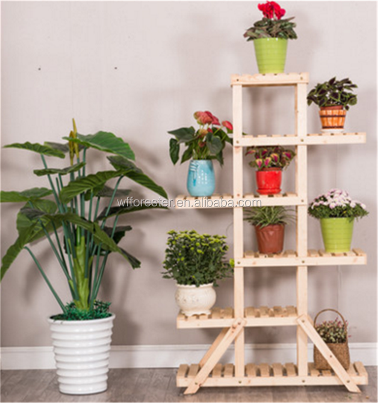 home decoration high quality popular wooden flower display shelf for sale