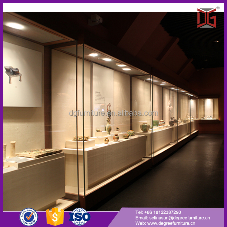 wall mounted glass museum display cases