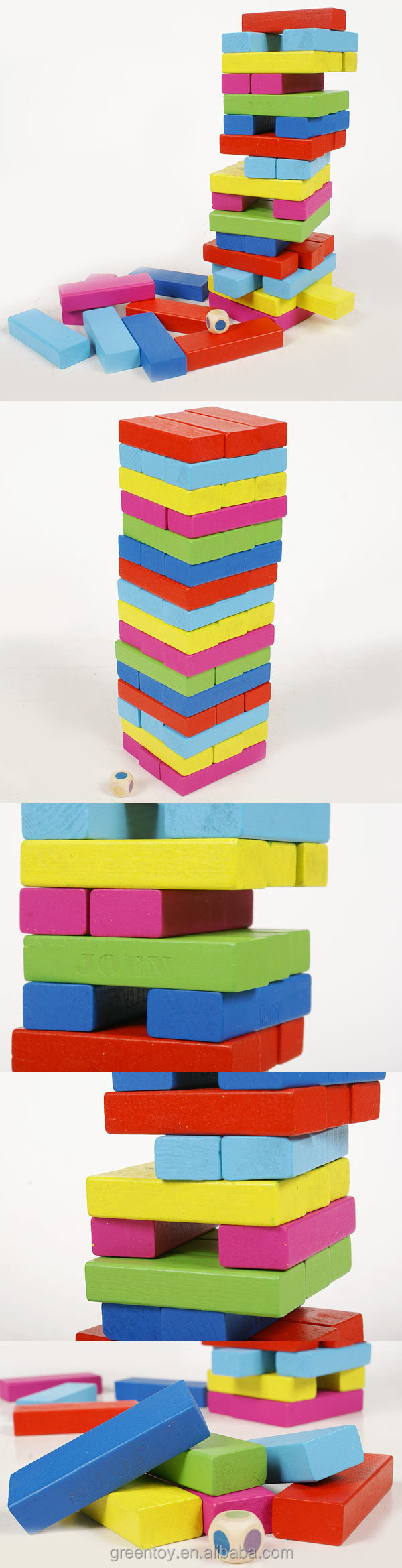 Colorful Wooden Jenga Blocks Toy Set for kids