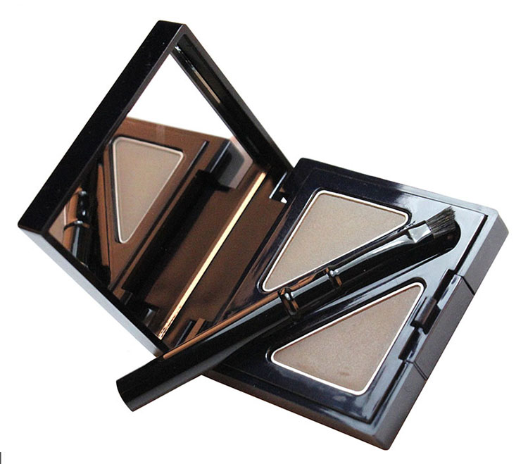 Long-lasting 2 Color Eye Brow Powder Makeup Palette With Brush Waterproof Eyebrow Powder With Mirror