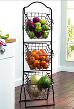 Home Organization Collapsible Three Tier Fruit Storage Basket /Black Color