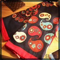 promotional wholesale blanket scarf shawl Norway style black cartoon printed soft cotton knit scarf